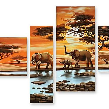 """Картины и панно ручной работы. Ярмарка Мастеров - ручная работа Модульная картина """"Слоны"""". Handmade."""