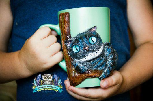 """Персональные подарки ручной работы. Ярмарка Мастеров - ручная работа. Купить Кружка """"Чеширский кот"""". Handmade. Кот, кружка в подарок"""