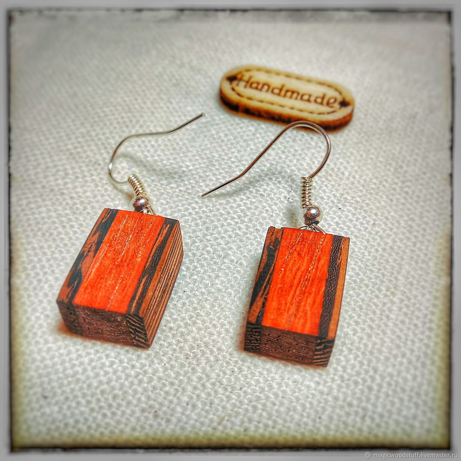 Earrings made of wenge and Paduk, Earrings, Moscow,  Фото №1