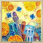 """Картины и панно ручной работы. Ярмарка Мастеров - ручная работа Картина """"Марокканские апельсины"""" батик. Handmade."""