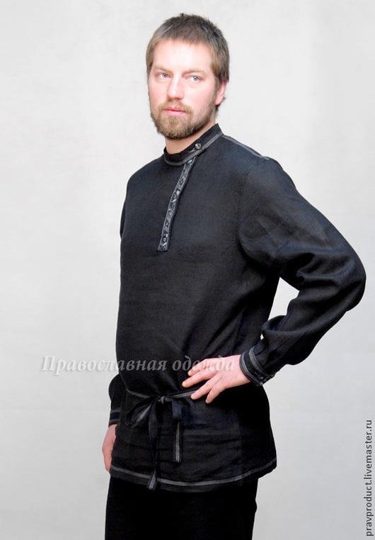Традиционная мужская косоворотка из черного льна,  открашенного с соблюдением вековых традиций изготовления одежды из льна на Руси.