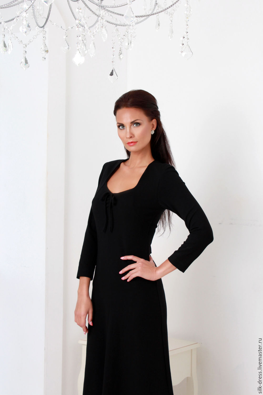 Dress black knit Jersey, Dresses, Moscow,  Фото №1
