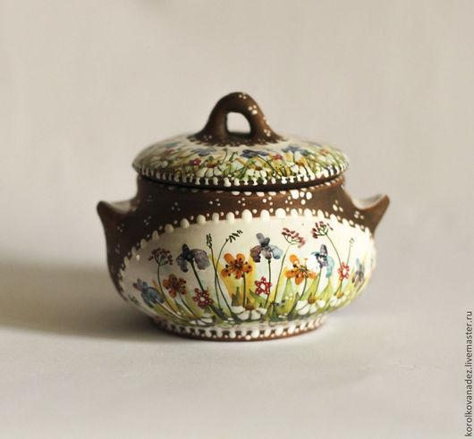 Кухня ручной работы. Ярмарка Мастеров - ручная работа. Купить Керамический горшок с крышкой, солонка, сахарница, шкатулка (майолика). Handmade.