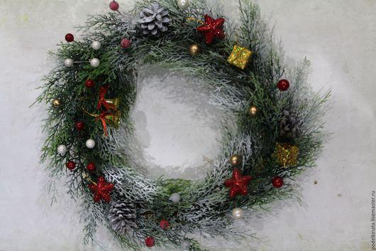 Новый год 2017 ручной работы. Ярмарка Мастеров - ручная работа. Купить Рождественский венок. Handmade. Разноцветный, декор для интерьера, зима