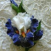 Украшения handmade. Livemaster - original item Iris brooch. Brooch boutonniere with blue Iris. polymer clay.. Handmade.