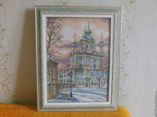 Церковь зимой, багет, музейное стекло (не бликует), счетный крест