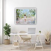 Картины и панно handmade. Livemaster - original item Oil painting. girl. Summer landscape. Handmade.
