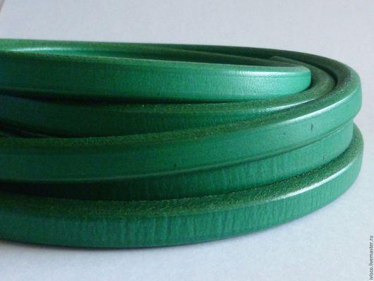 Для украшений ручной работы. Ярмарка Мастеров - ручная работа. Купить Шнур Регализ 10х6мм зеленый. Handmade. Кожаный шнур