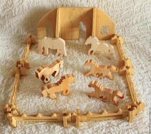 Развивающие игрушки ручной работы. Ярмарка Мастеров - ручная работа. Купить Лошадиная ферма - конструктор.. Handmade. Бежевый, домик, фанера