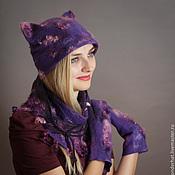 """Аксессуары ручной работы. Ярмарка Мастеров - ручная работа Комплект аксессуаров """"Фиолетовая кошка"""". Handmade."""