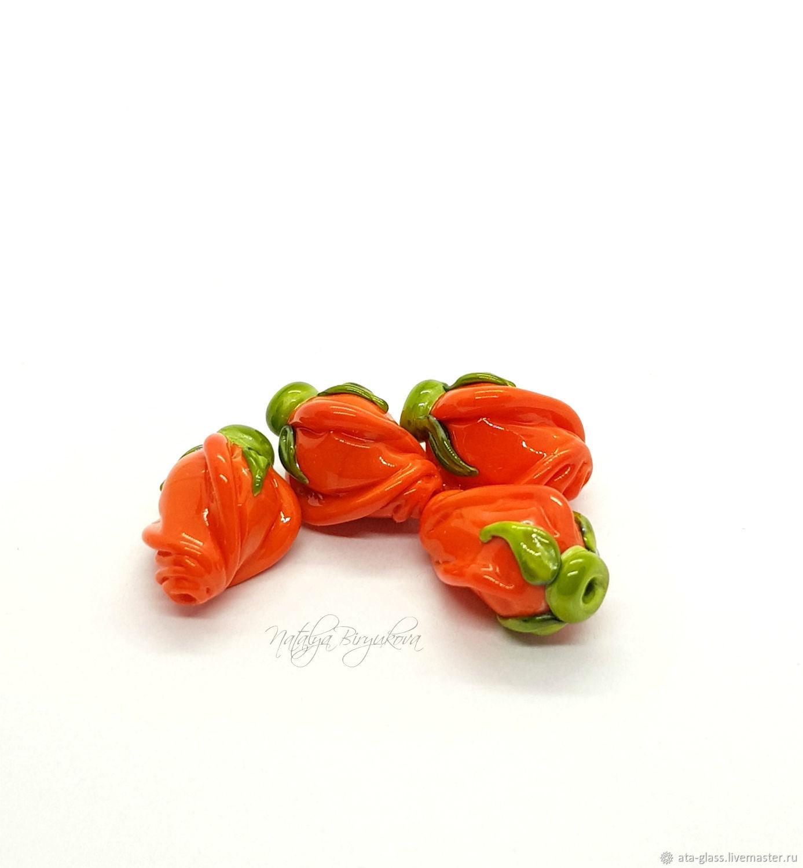 Lampwork beads pink orange buds, Beads1, Kaliningrad,  Фото №1