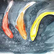 """Картины и панно ручной работы. Ярмарка Мастеров - ручная работа Акварель """"Китайские рыбки"""". Handmade."""