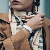Украшения handmade. Livemaster - original item White leather bracelet with insert and cast steel locks. Handmade.