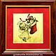 """Новый год 2017 ручной работы. Подарок """"Новогодний Ангел"""" картина из золота 960 пробы """". Золотая Черепаха (goldturtle). Интернет-магазин Ярмарка Мастеров."""