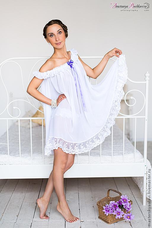 """Белье ручной работы. Ярмарка Мастеров - ручная работа. Купить """"Camilla"""".Комплект ночного белья. Handmade. Белый, нежно, подарок"""