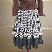 Одежда ручной работы. Ярмарка Мастеров - ручная работа Юбка осень-весна серая клеточка с пуговками. Handmade.
