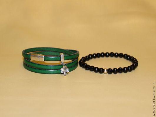 Браслеты ручной работы. Ярмарка Мастеров - ручная работа. Купить Кожаный браслет из кожи зеленой клевер серебро, черный агат. Handmade.