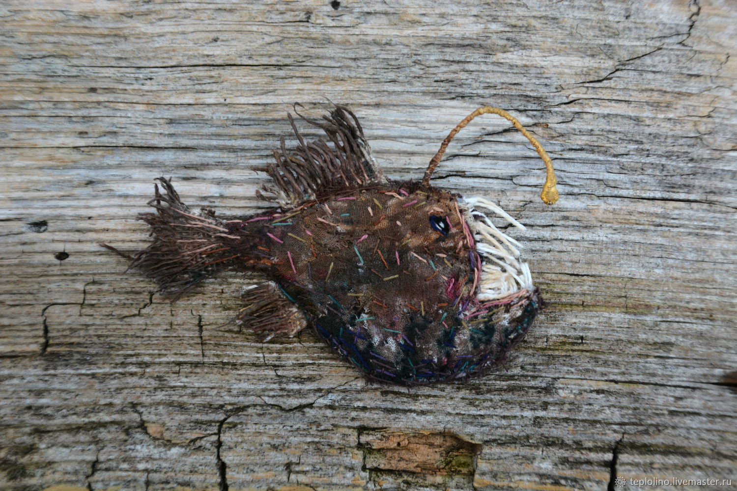 Textile brooch Angler Fish, Brooches, Pskov,  Фото №1