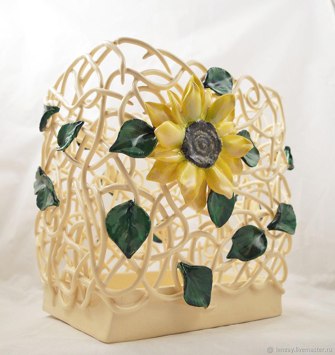 Керамическая ваза из коллекции `Подсолнухи`. Параллелепипед. Высота 25 см. Плетеная керамика и керамическая флористика Елены Зайченко