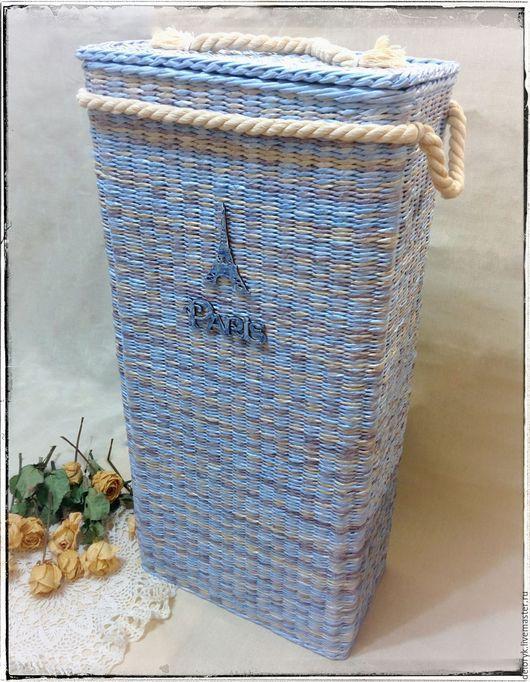 """Корзины, коробы ручной работы. Ярмарка Мастеров - ручная работа. Купить Корзина для белья """"Эйфелева башня"""". Handmade. Голубой"""