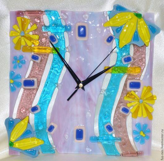 Часы для дома ручной работы. Ярмарка Мастеров - ручная работа. Купить Часы Море волнуется раз...) Фьюзинг. Handmade.