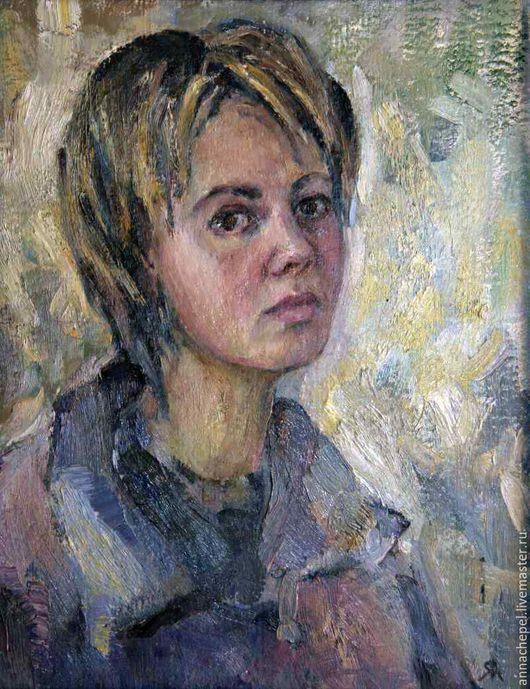 Автопортрет. Анна Чепель. 40×50 см., холст, масло, 2001. Женский портрет в три четверти.