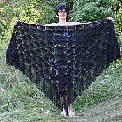 Аксессуары handmade. Livemaster - original item Shawl Kristina 220x160x160 black crocheted (excluding brushes). Handmade.