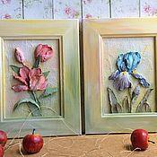 """Картины и панно ручной работы. Ярмарка Мастеров - ручная работа Картинки объемные """"Ирис и Тюльпан"""" диптих. Handmade."""