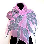 Аксессуары ручной работы. Ярмарка Мастеров - ручная работа Розовый с серым Нуно-войлочный палантин. Handmade.