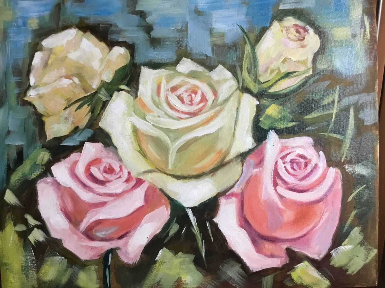 Розы 40*50. Масло, Картины, Москва, Фото №1