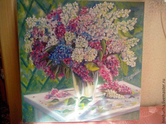 """Картины цветов ручной работы. Ярмарка Мастеров - ручная работа. Купить """"Сирень"""". Handmade. Комбинированный, картина цветов, подарок женщине"""