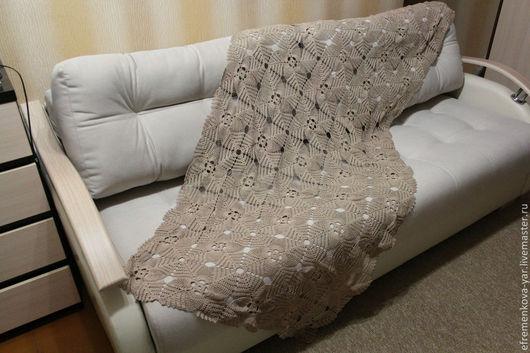 Текстиль, ковры ручной работы. Ярмарка Мастеров - ручная работа. Купить Покрывало ажурное. Handmade. Бежевый, ажурный узор, подарок