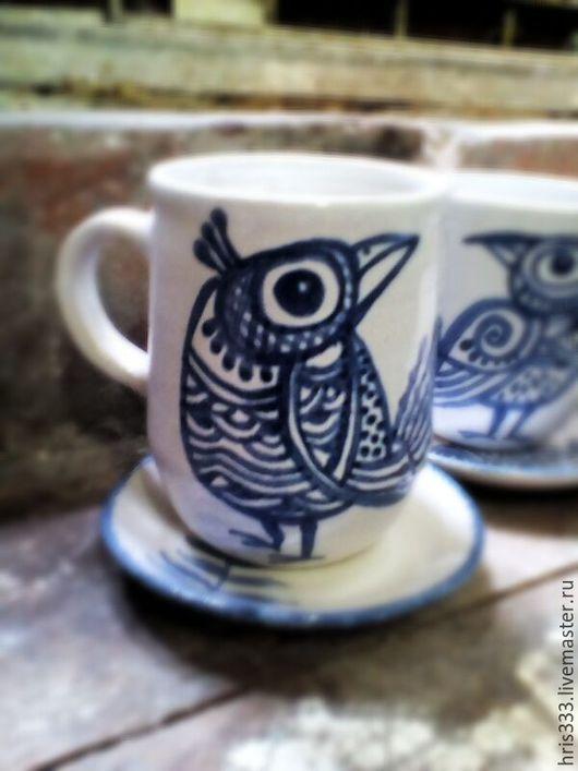 """Кружки и чашки ручной работы. Ярмарка Мастеров - ручная работа. Купить Чайная пара  """"Птица счастья"""". Handmade. Белый, бирюзовый"""