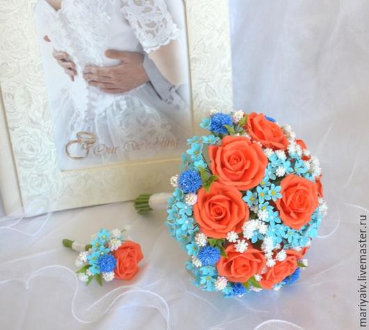 Цветы ручной работы. Ярмарка Мастеров - ручная работа. Купить Свадебный букет невесты. Handmade. Разноцветный, холодный фарфор