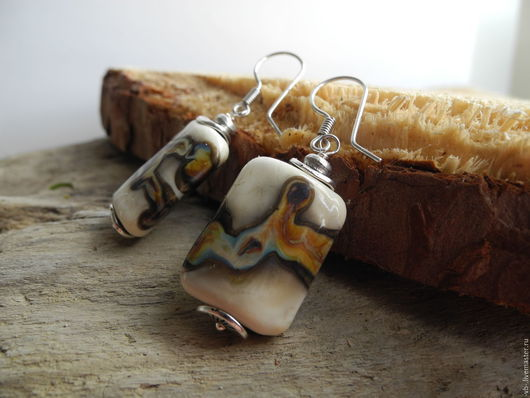 Серьги ручной работы. Ярмарка Мастеров - ручная работа. Купить Авторские серьги из бусин лэмпворк с серебряными швензами. Handmade.