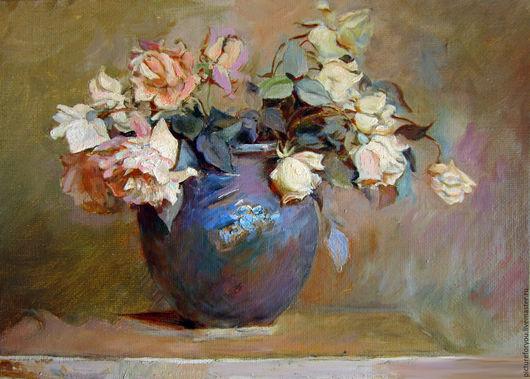 Картины цветов ручной работы. Ярмарка Мастеров - ручная работа. Купить Розы в синей вазе. Handmade. Кремовый, цветы