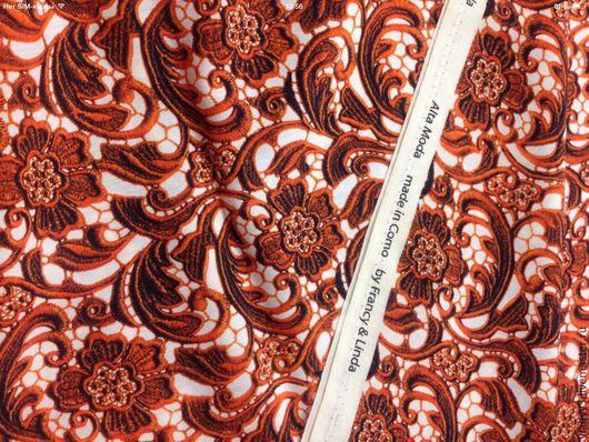 Шитье ручной работы. Ярмарка Мастеров - ручная работа. Купить Prada шерсть плательная имитация кружева. Handmade. Коричневый