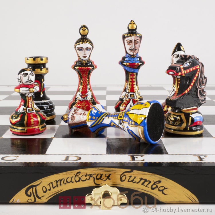 painted chess ' battle of poltava', Chess, St. Petersburg,  Фото №1
