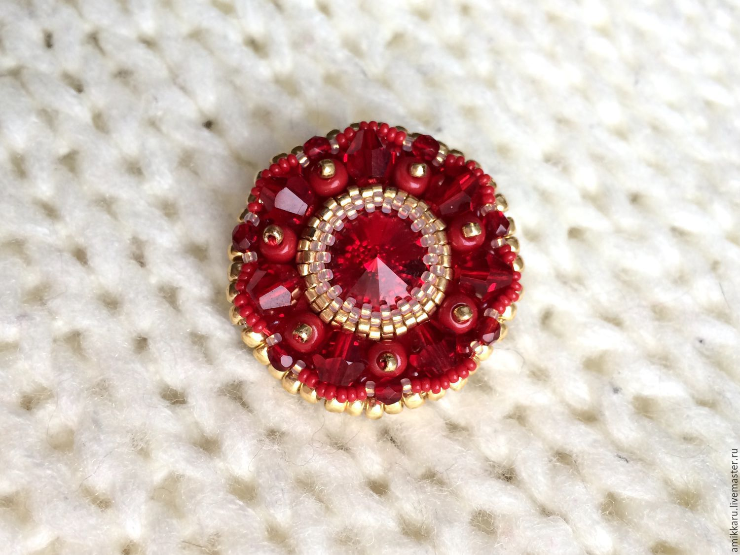 red beaded brooch and swarovski crystals, Brooches, Kireevsk,  Фото №1