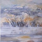"""Картины и панно ручной работы. Ярмарка Мастеров - ручная работа Акварель """"Туман на реке"""". Handmade."""