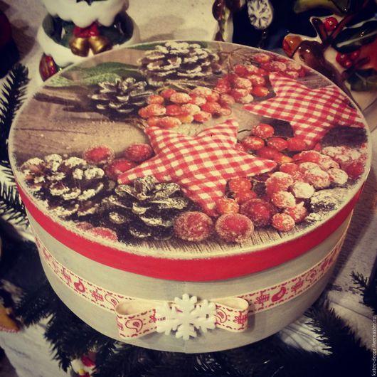 Шкатулки ручной работы. Ярмарка Мастеров - ручная работа. Купить Новогодний короб. Handmade. Коралловый, коробочка, Новый Год, шкатулка