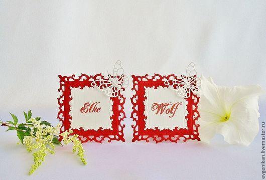 """Свадебные аксессуары ручной работы. Ярмарка Мастеров - ручная работа. Купить Рассадочные карточки """"Wedding in red"""". Handmade."""