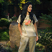 handmade. Livemaster - original item Trouser suit with hand embroidery