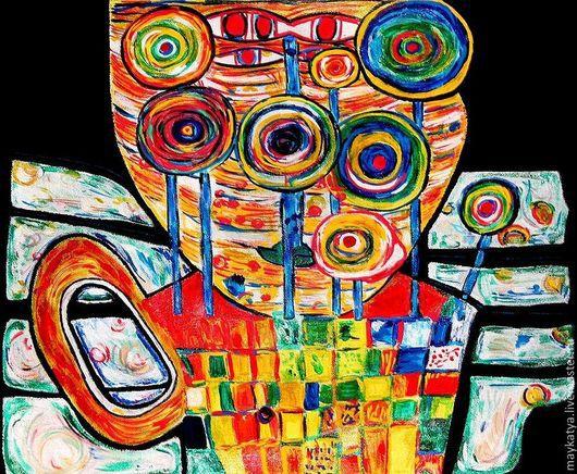 """Футболки, майки ручной работы. Ярмарка Мастеров - ручная работа. Купить Эко - сумка: """"Хундертвассер"""". Handmade. Рисунок, футболка на заказ"""
