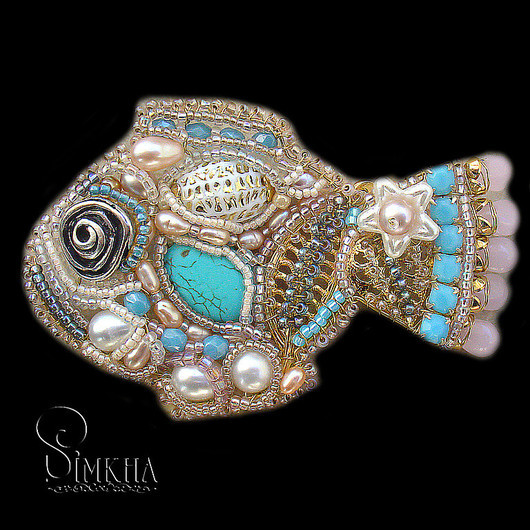 Brooches handmade. Livemaster - handmade. Buy Brooch 'delicate Fish with turquoise'.Turquoise, turquoise, metal