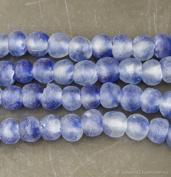 Африканские этнические  стеклянные бусины с синими облачками, 15 мм, Бусины, Москва,  Фото №1