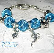 Украшения ручной работы. Ярмарка Мастеров - ручная работа Детский  браслет  в стиле пандора  Голубые крокодилы. Handmade.