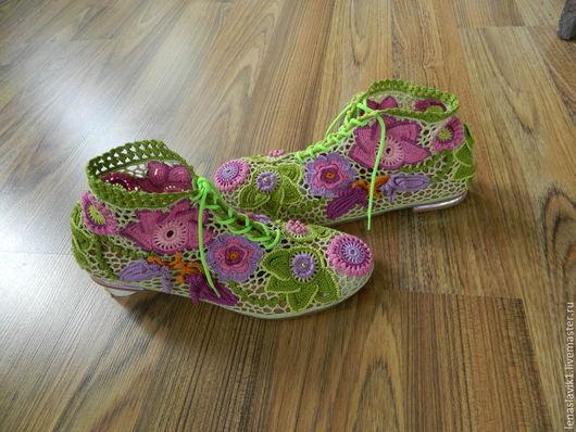 Обувь ручной работы. Ярмарка Мастеров - ручная работа. Купить ботиночки  летние. внутренняя основа-натуральная кожа. верх мерсеризов. Handmade.