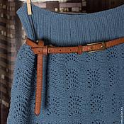 Одежда ручной работы. Ярмарка Мастеров - ручная работа Юбка вязаная Джинс. Handmade.