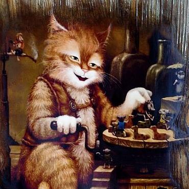 """Картины и панно ручной работы. Ярмарка Мастеров - ручная работа """"Котик рыженький.""""Панно настенное,картина,мышки. Handmade."""